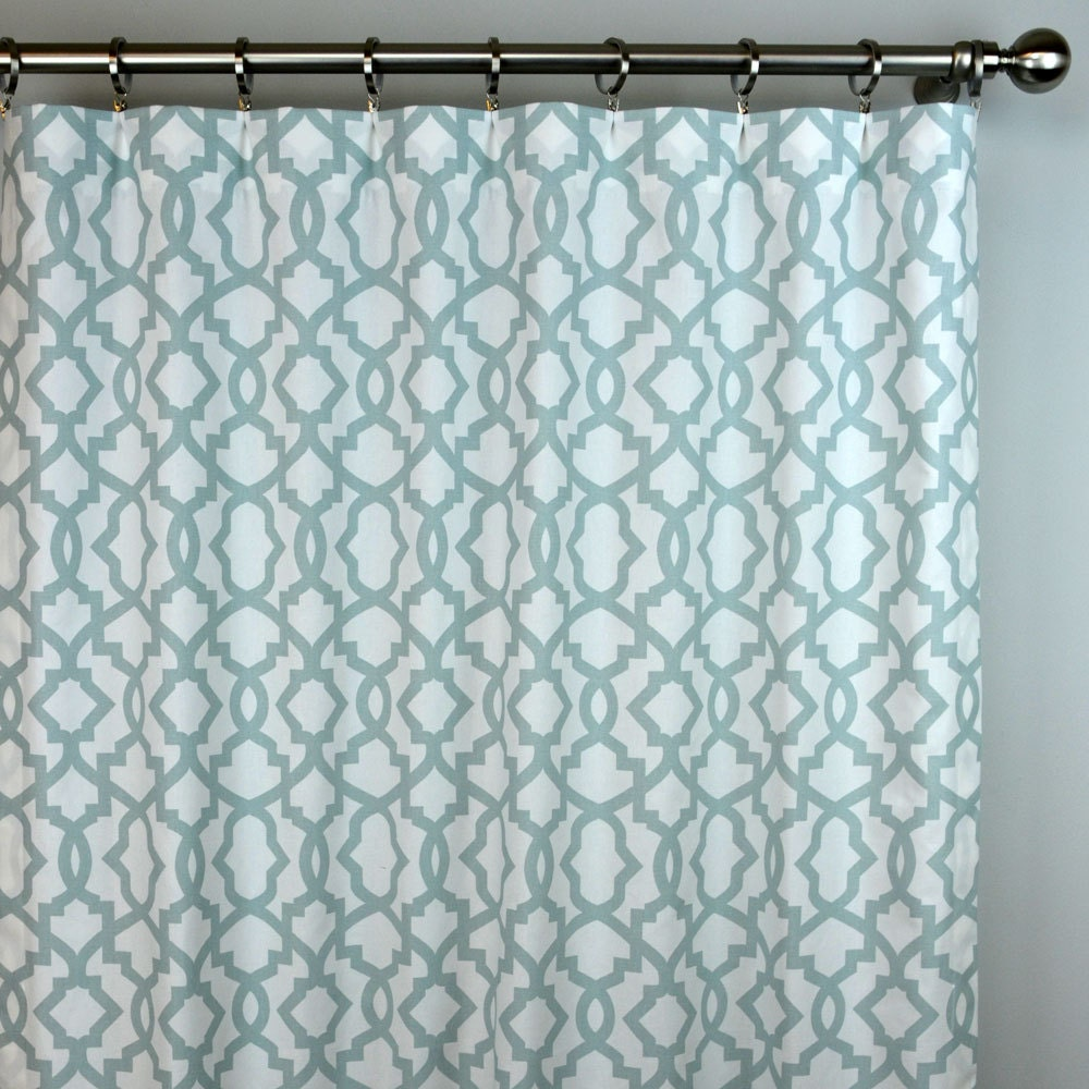 Snowy Light Blue White Sheffiled Trellis Curtains Rod Pocket