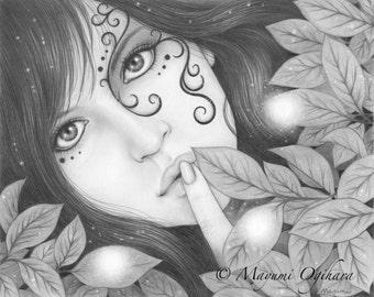 Hush - Open edition print, graphite pencil drawing, magic, tattoo, fantasy