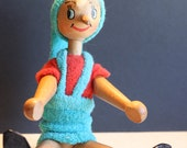 Vintage Polish Wooden Doll, Movable, handpainted,  Pinocchio, by the Italian writer Carlo Collodi.