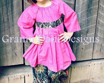 Mossy oak hot pink peasant twirl  top and pant set baby toddler girls 12 18 24 months 2t 3t 4t 5t