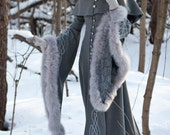 "Wool Grey Fantasy Coat ""Heritrix of The Winter""; snow princess; white queen fur coat - armstreet"