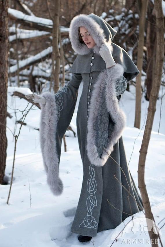 "Wool Gray Fantasy Coat ""Heritrix of The Winter""; snow princess; white queen fur coat"