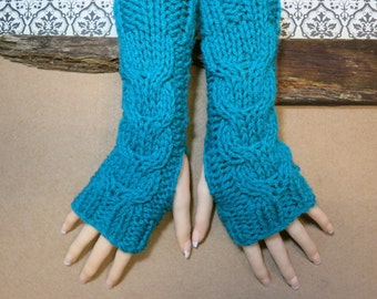 Teal Fingerless Gloves, Wrist Warmers, Cabled Arm Warmers, Womens Fashion Chunky Knitted Gloves, Australia, Nchanted Gifts