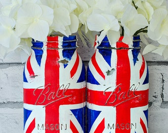 Union Jack Flag Mason Jar Set – Red, White, Blue – Two Quart-Size Mason Jar