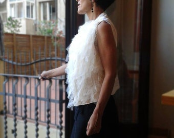 Fringed Vest Ecru Tulle (exclusive)