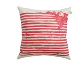 Coral striped cushion cover, abstract watercolor lines