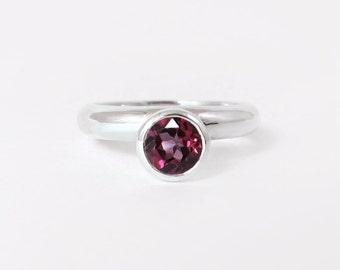 Sterling silver rhodolite garnet ring, unique gemstone cocktail ring - January birthstone