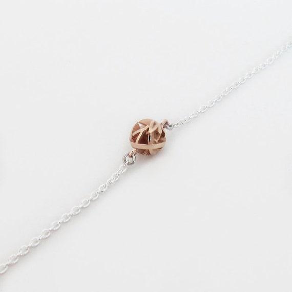 Unique rose gold ball bracelet on sterling silver chain, 3D printed stackable bracelets, gold charm bracelet - Negative/Positive collection