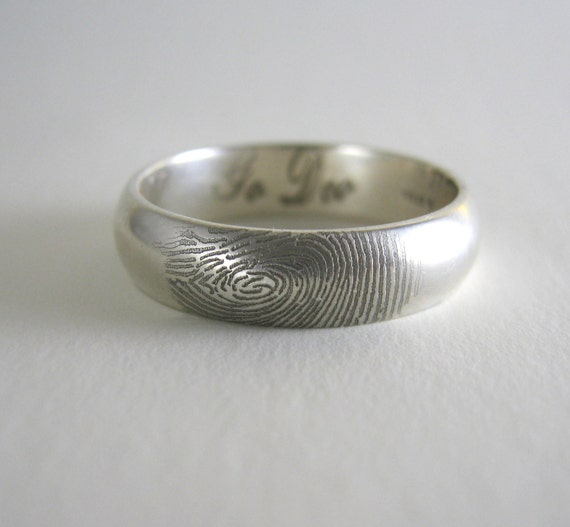 items similar to fingerprint wedding ring on outside of