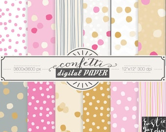 GOLD and PINK CONFETTI digital paper. Bright spot, dot patterns for small commercial use.