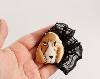 Basset Hound dog fabric brooch from golden satin and black lace.Textile funny animal brooch