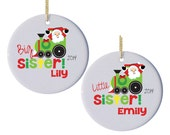 Personalized Christmas Ornaments with Santa Train - Set of 2