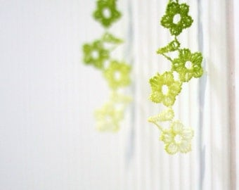 Ombre Pistachio Green Hand Dyed Flower Lace Earrings - Modern Jewelry