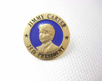 Jimmy Carter 39th President Tie tack Lapel Pin Vintage Blue Enamel Gold plated W.L. Bristol Bristol, TN Political Collectors