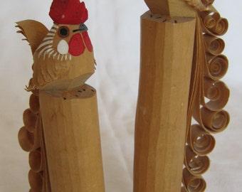 Vintage Japanese Wood Carved Roosters Sasano Bori