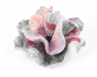 Felted Brooch Abstract felt grey pastel nuno nunofelt silk flower folk boho gray fog wool victorian fairy