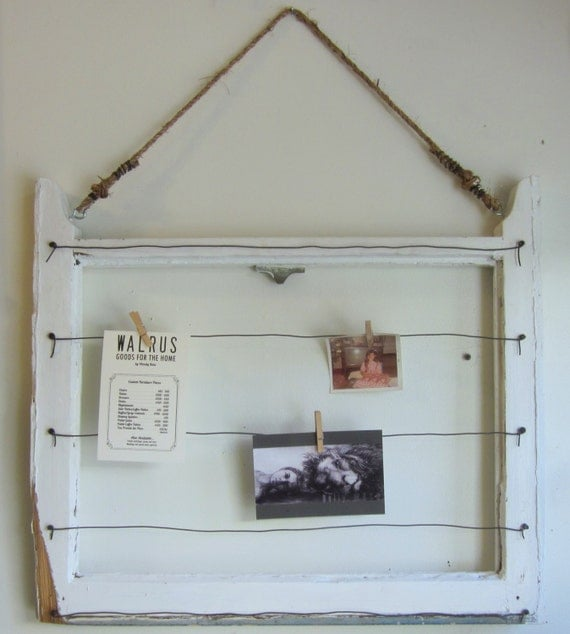 Items similar to vintage window frame wall organizer for Picture frame organization wall