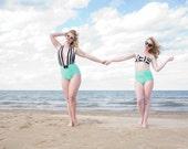 Lydia Striped Bow Retro  High Waist Mint Two-Piece Bikini