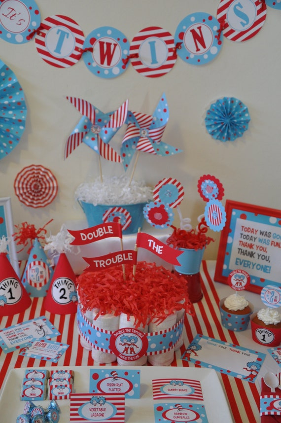 twins baby shower dr seuss thing 1 thing 2 inspired non personalized