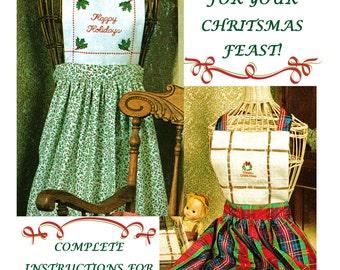 Digital Download 2 Cross Stitch Christmas Aprons Pattern-PDF Sew & Cross Stitch Holiday Aprons Pattern Sewing Supplies Cross Stitch Supplies