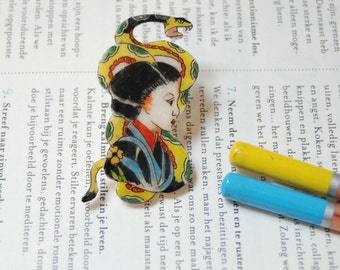 Geisha brooch. Hand drawn vintage tattoo brooch