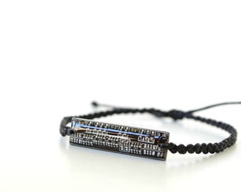 Mens Friendship Bracelet, Black Circuit Board Computer Jewelry, Geekery Men Accessories