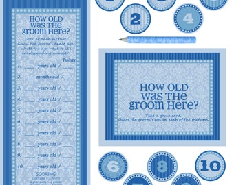 "Instant download - Co-ed Bridal Shower / Bachelorette Party Game - How old is the groom here - BLUE - 10X8"" Frame Opening"