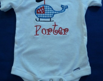 Onesie appliqued with helicopter and personalized