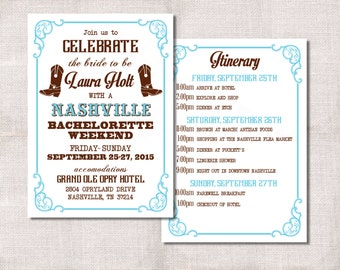 Bachelorette Party Weekend invitation and itinerary custom printable, Hen's night, Nashville