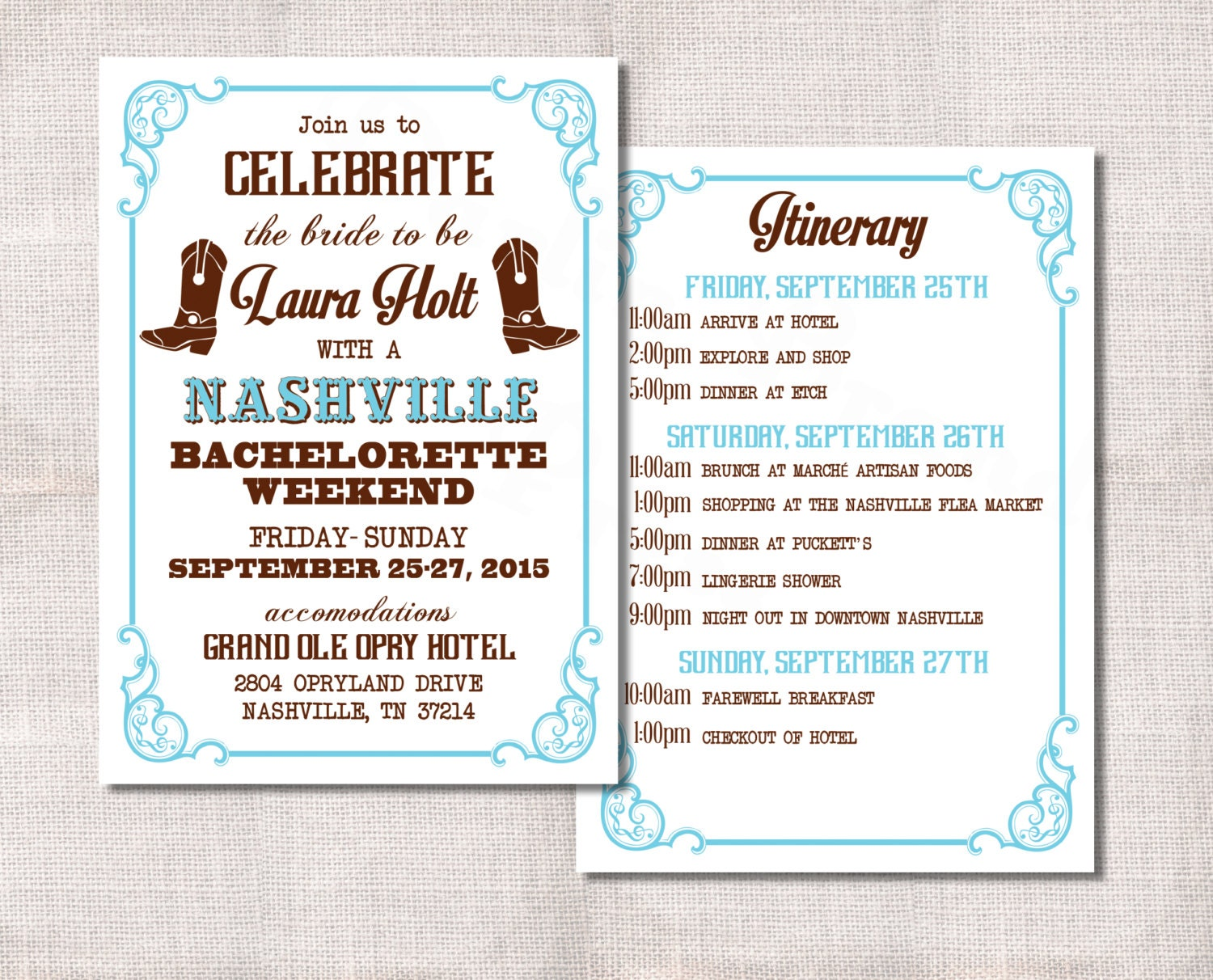 Bachelorette Party Weekend invitation and itinerary custom