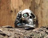 "Sterling Silver Skull Ring "" Eskulia "" Tsavorite size 10 3/4 Us"