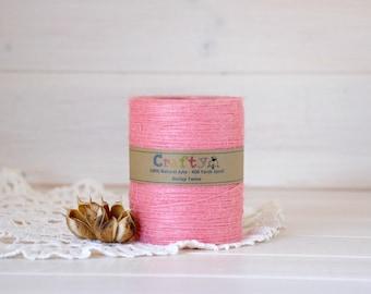 Burlap Twine 400 Yards - 100% Natural Jute String - Color Pink - 400 Yards Spool -  Pink Jute Twine - Pink Burlap String