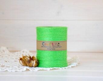 Burlap Twine 400 Yards - 100% Natural Jute String - Color Bright Green - 400 Yards Spool - Green Jute Twine - Bright Green Burlap String