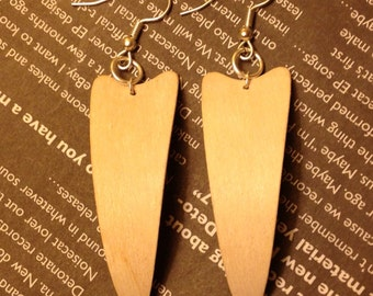 White Wood Earrings- Bone White Wood Fang Earrings