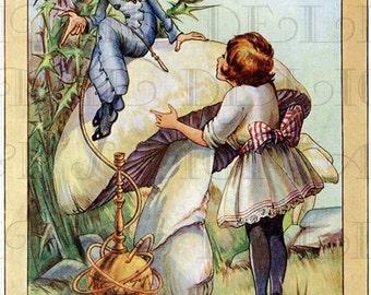 Rarely Seen. Unusual Alice and CATERPILLAR.  ALICE in Wonderland Digital Download. Vintage Illustration. Wonderland DIGITAL Print.