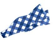 Bow Tie - Navy Gingham - Men's Self Tie - Freestyle Tie