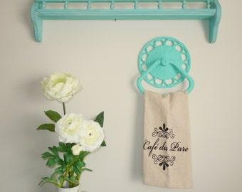 Painted Vintage Shelf. Plate Holder. Spice Rack.  Bath Organizer. Aqua. Destin Gulf Green CeCe Caldwell Paints