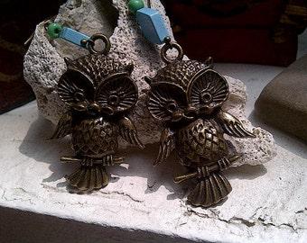 Brass Owl Turquoise Earrings, Owl Earrings