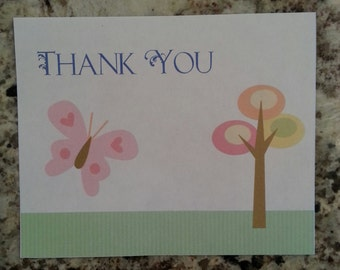 Printable Butterfly Thank you Cards