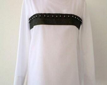 Cotton and polyeste rwhite  shirt. Ribbon dètail Luci Lü