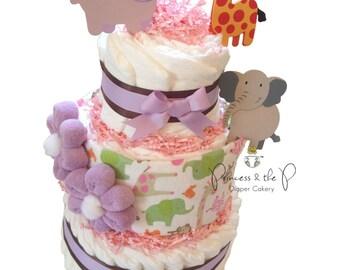Swaddle Safari Diaper Cake - Jungle Baby Shower,  Decoration, Centerpiece, Nursery Decor, Safari baby shower