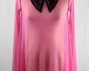 Baylis & Knight Pink SHEER Collared Long Sleeve Swing Dress Elegant (Smock) Adele