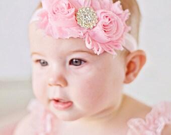 Bright Pink Shabby Headband chic Headband Baby headband  newborn headband flower headband baby girl headband