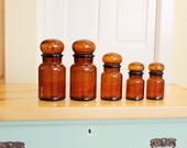 Do it Up Brown... Set of 5 Vintage Brown Glass Apothecary Jars - Bubble Tops, Made in Belgium
