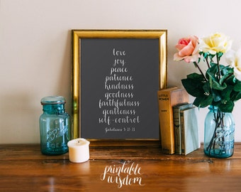Bible Verse Print, Printable Christian scripture art, wall decor poster fruits of the spirit, Galatians 5, digital typography