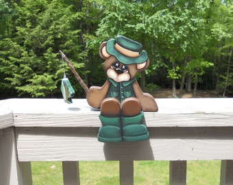 """Adorable fishing bear """"Parker"""" hand painted wood craft shelf sitter"""