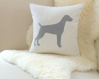 Weimaraner Pillow Cover - Oatmeal Linen & Gray