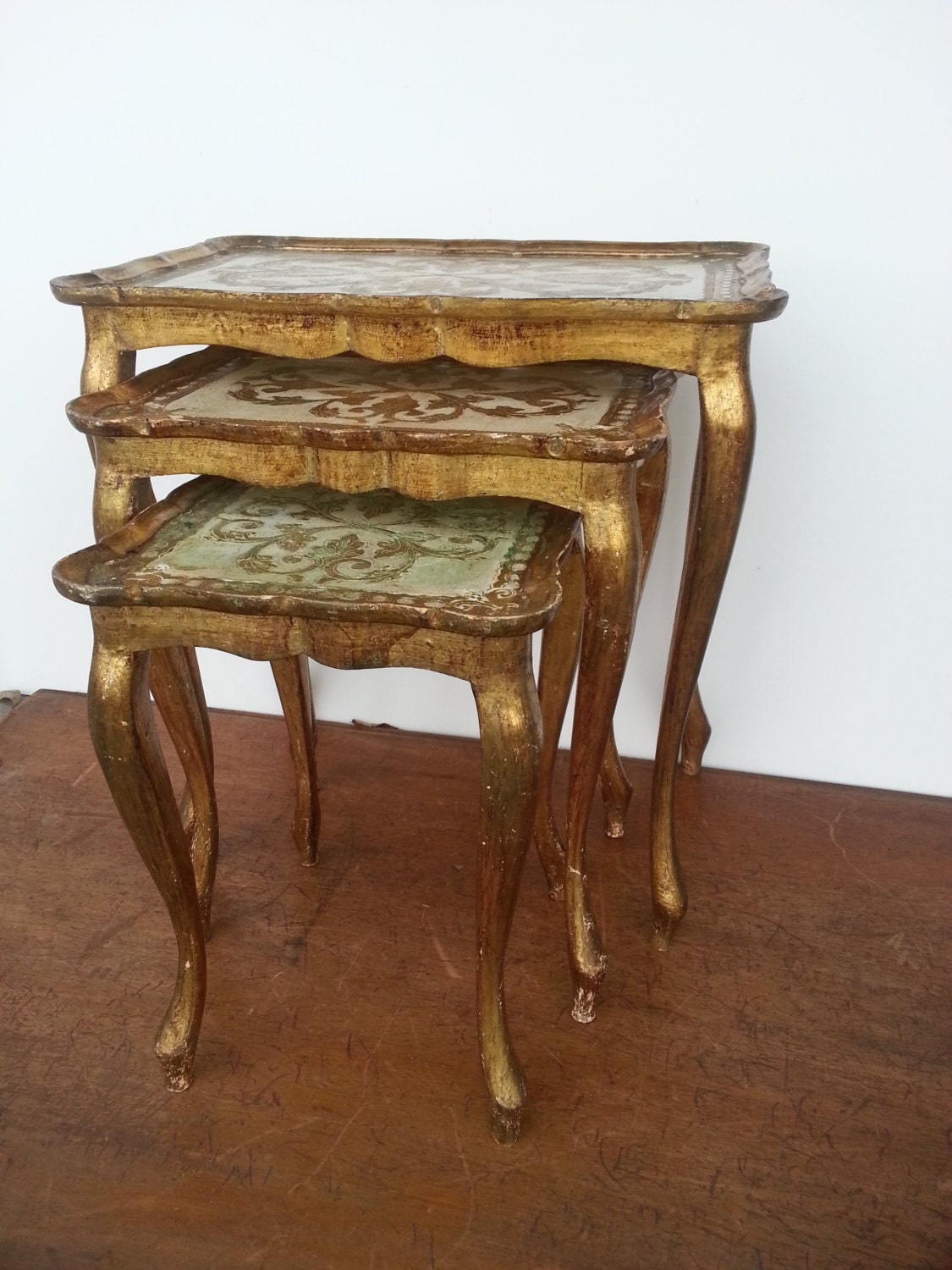 Authentic 1920 Italian Wood Florentine Nesting Tables Gold