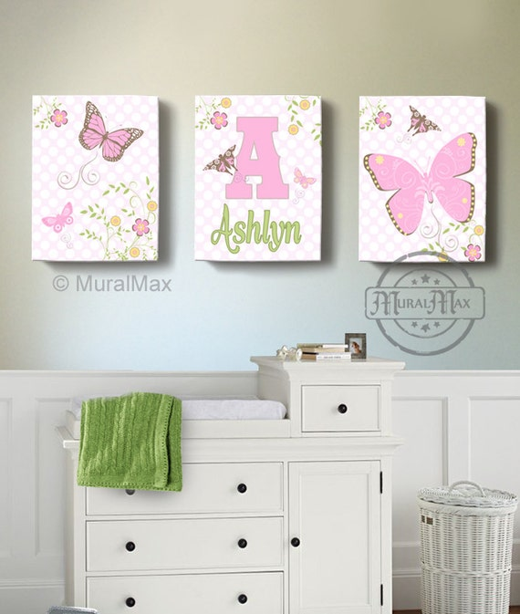 Nursery Wall Decor Butterflies : Butterfly canvas wall art nursery by muralmax