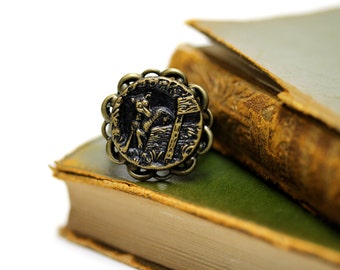 """Dog Ring, Antique Button Jewelry, Keepsake, Gift for Pet Owner, Gift for Dog Lover, Victorian Heirloom Jewlery, Dog Owner - """"Tiny"""""""